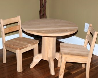 Unfinished Round Table & Chair Set