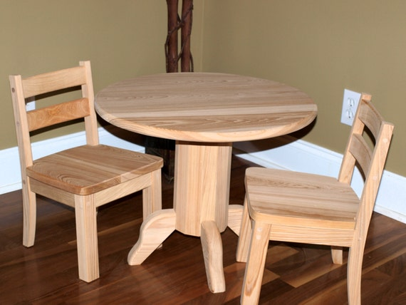 Unfinished Children's Round Cypress Table & Chair Set