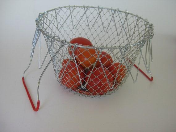 Vintage Metal Collapsible Salad and Fruit Basket