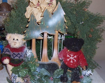 Christmas Bear and trees table or mantel decoration Stuffed bears, wooden trees