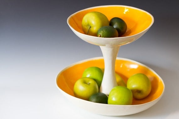 Large orange and white 2 tiered fruit serving or display bowl - Tiered fruit bowl ...