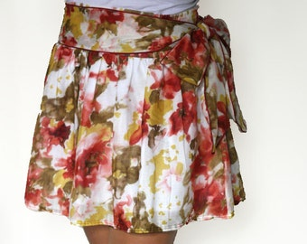 Summer Skirt in pastel color coral and mustard yellow Mini Skirt With Sash - Last Stock Available