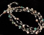 Blue Quartz, Moonstone, Aquamarine, Smoky Quartz, Tourmaline Quartz, Silver-plated Wire, 4str Necklace, NL0968