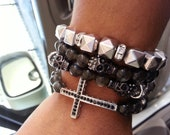 Free shipping-Black Skull, Arm candy, Stackable Bracelet