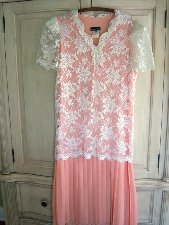 Peach, Lace Vintage Dress, 80's does 20's Flapper Style