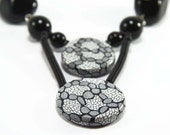 Statement Necklace - Chunky Necklace in Black and White Polymer Clay and Big Beads - Modern Fashion Jewelry - Necklace for Women