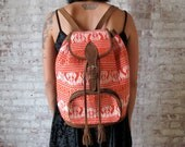Hand Made Suede and Orange Woven Tribal Backpack