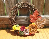 Bright Autumn Wreath -- Autumn Wreath--Thanksgiving Wreath--Fall Decor-Fall Decoration-12 inch Grapevine and Felt Flower Wreath
