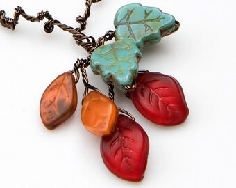 Red Bead Necklace, Red Leaf Necklace, Woodland Jewelry, Leaf Jewelry, Autumn Jewelry, Rustic Wedding Jewelry