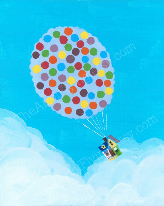 Disney Pixar's Up Balloon House Print by TheArtofFlying on Etsy