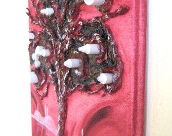 Tree painting red / acyrilic painting tree / Turkish Painting ' Tree of Life '