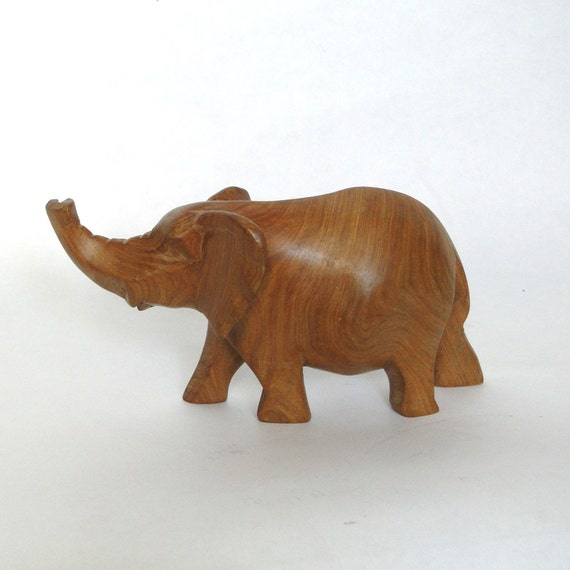 Vintage Wooden Elephant Hand Carved Smooth Ruffle Ear African