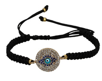 Evil Eye Bracelet, Macrome Cord, Cz stones with Saphire stones,Gold Plated