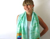 Turquoise Silk Scarf - Peacock Feathers - Hand Painted Silk Scarf - Summer Fashion - Green - Aqua