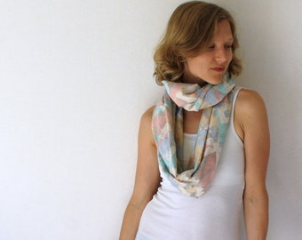 SALE! Up-cycled Pastel Circle Scarf -  80's - Pastel Scarf  - Infinity Scarf - Loop Scarf - Tribal Scarf - Summer Fashion