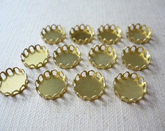 12 pcs Raw Brass Lace Cabochon Settings - Lead Free - Shiny Bronze Color - 10mm