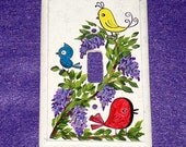 Decorative Hand Painted Single Wood Light Switch Plate Cover Birds Retro Outlet Plug Cover Purple Lilacs Red Blue Yellow Housewarming Gift