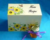 Recipe Card Box Wood Recipe Box Painted Sunflowers Wooden Personalized Custom Gift Set