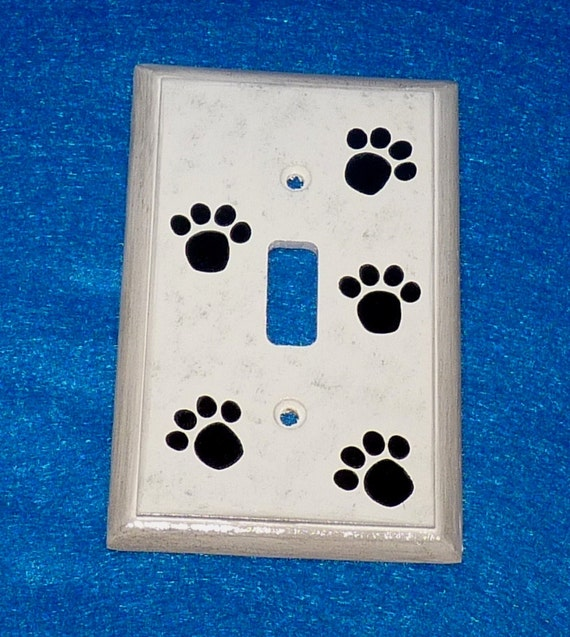 Hand Painted Light Switch Plate Wood Wall Cover Single Dog Paw