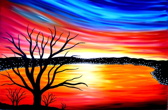 sale for christmas was 185 USD now 100  USD Original oil painting on canvas large landscape modern art love sunset