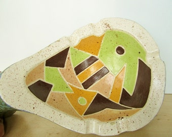 Vintage 1960s Mod Abstract Ashtray Jamar of California Ceramic Pottery Funky One-of-a-Kind Van Riper Signed