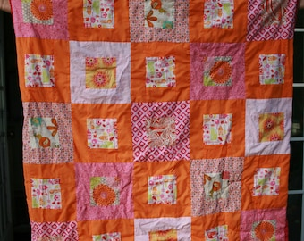 Modern block quilt in pinks and oranges - on sale