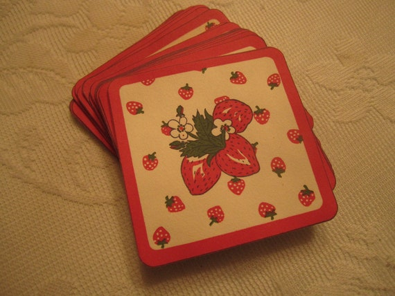 Darling Strawberry Paper Drink Coasters