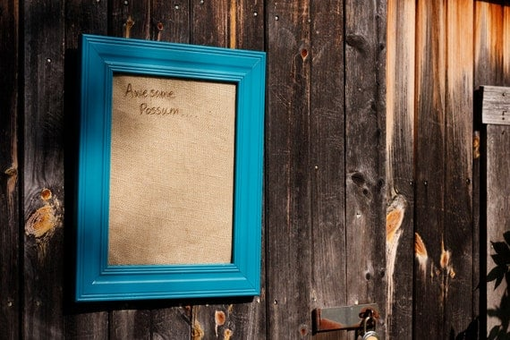 Dry Erase Message Board with Teal Frame and Burlap Background, Repurposed Whiteboard Frame