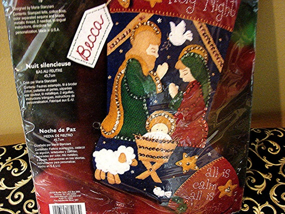 Bucilla Jeweled Felt Christmas Stocking Kit UNOPENED Beads Sequins Christmas Stocking