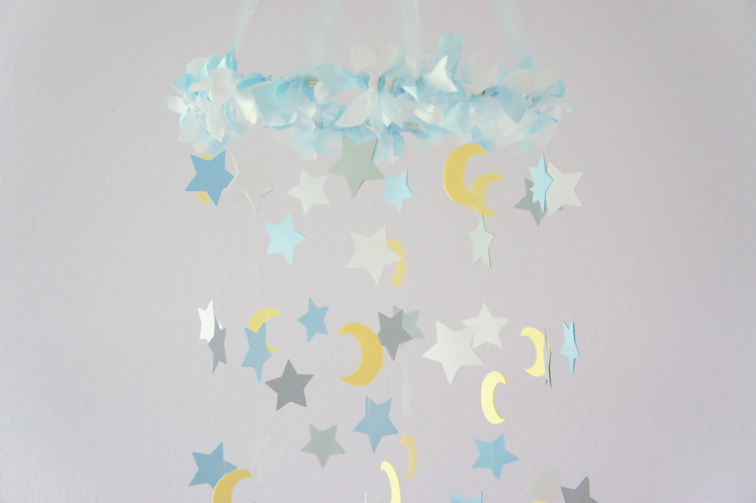 moon stars nursery mobile nursery decor baby shower decor. Black Bedroom Furniture Sets. Home Design Ideas