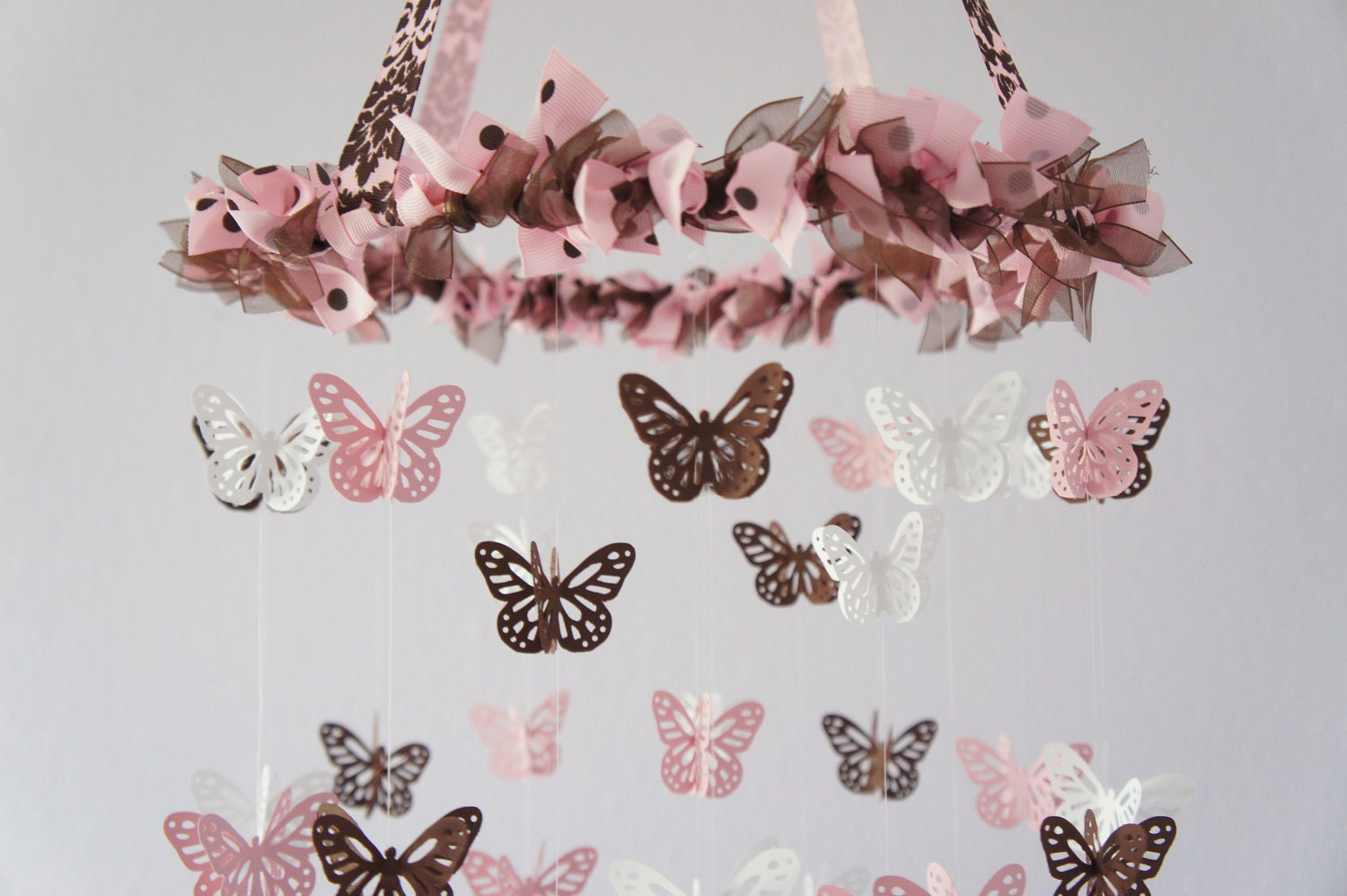 Butterfly Nursery Mobile Pink Brown And White Nursery