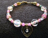 10 inch Collar - MY LOVE in pink and magenta with floral beads