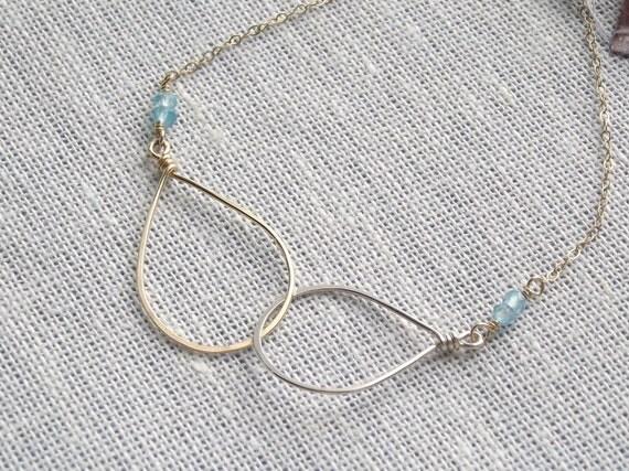 Sky Blue Quartz, Sterling Silver & 14k Gold-filled Intertwined Teardrops Bracelet