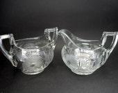 Vintage Heisey Glass Phyllis Sugar Bowl, Milk Jug Vintage glass sugar bowl, Creamer Vintage Housewares Vintage Serving Vintage Tableware