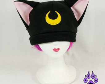 Pawstar Black Lunar kitty Hat sailor moon Luna star cat fleece hat 1235