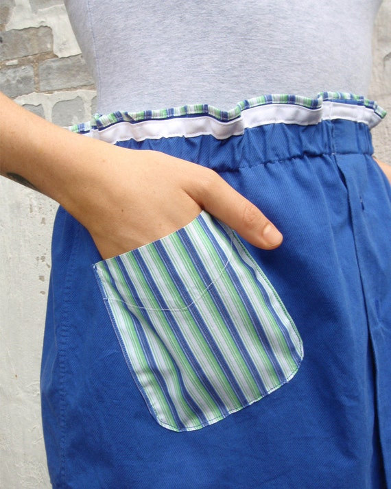 Mrs.Robinson Skirt Apron with Pocket from Upcycled Shirts