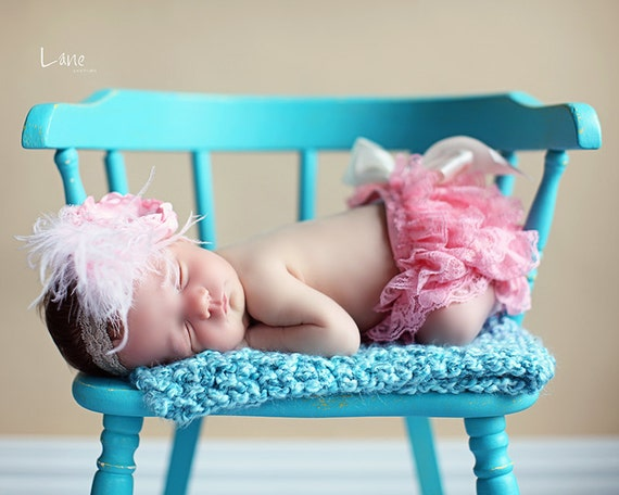 Pink Baby Bloomer with Couture Headband...Baby Bloomer...Newborn Bloomer Set