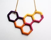 Unique Upcycled Geometric Necklace in Bright Colors (Purple, Orange, Yellow, and Pink)