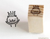Crown on a cat Small Rubber Stamp