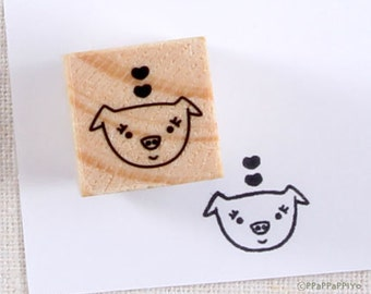 Pig & Heart Rubber Stamp