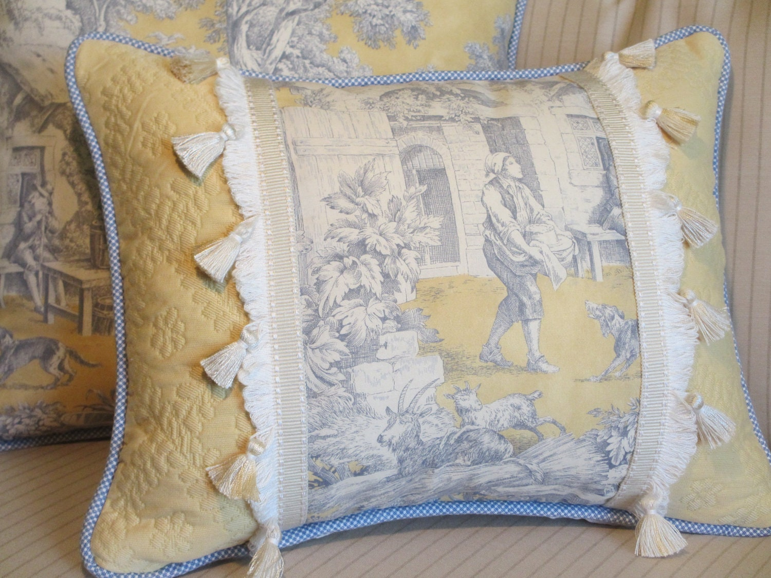 toile french country pillow cover blue and yellow decorative