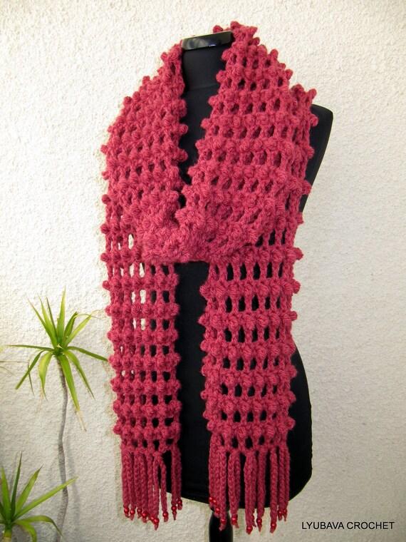 Crochet Scarf Pattern With Fringe : Crochet Scarf PATTERN-Long Scarf-Fringe Scarf-Chunky Scarf