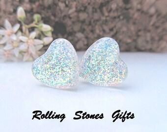 Moonbeam 12mm Glitter Back Glass Heart Stud Earrings- Glittery Heart Stud Earrings-Large Heart Studs-Surgical Steel Studs
