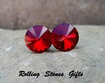 Siam 8.4mm Swarovski Rivoli Rhinestone Stud Earrings-Deep Red Crystal Studs-Red Rivoli Crystal Rivoli Stud Earrings
