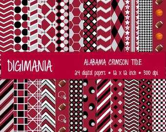 OFF %40 - INSTANT DOWNLOAD - Digital Paper Pack  -  Alabama Crimson Tide - Red, Grey, Black and White 24 Printable Papers