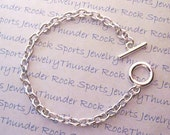"""10 Finished Jewelry Silver Plated 8"""" Charm Bracelet Cable Chain with Toggle Clasp for Charms and Pendants"""