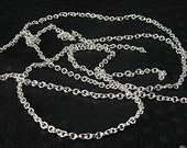 2mm link chain unfinished silver plated oval chain 36 inches jewelry supply craft supply silver chain