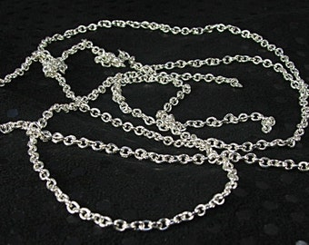 2mm link chain unfinished silver plated oval chain  jewelry supply craft supply silver chain