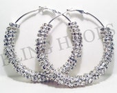 NEW Bling Hoops Silver Rondelle Rhinestone Earrings BBW