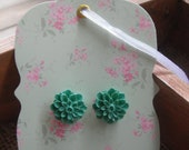 Teal Flower Earrings with surgical steel posts